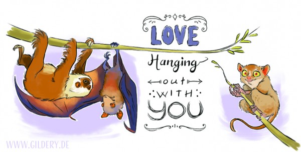 "Postkarte lang ""Love hanging with You"""
