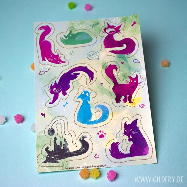 Katzen Stickersheet
