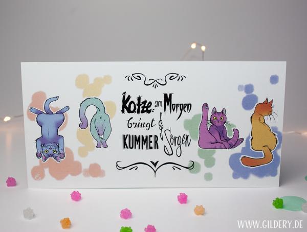 "Postkarte lang ""Katzenkotze"""