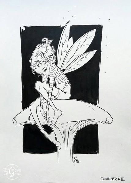"""Artprint """"Fairy on Mushroom"""""""